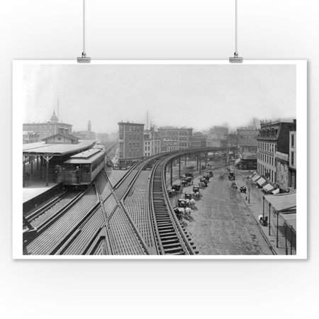 Elevated Railroad Station at Chatham Square NYC Photo (9x12 Art Print, Wall Decor Travel Poster)
