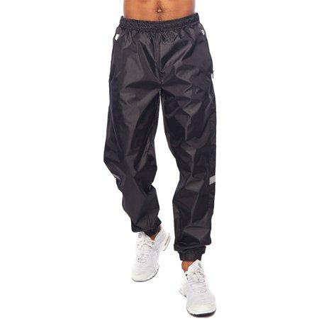 Nike Athletic Track Pants - Mens Windbreaker Waistbend Zipper Pocket Track Pants 18191-3493-S-Black