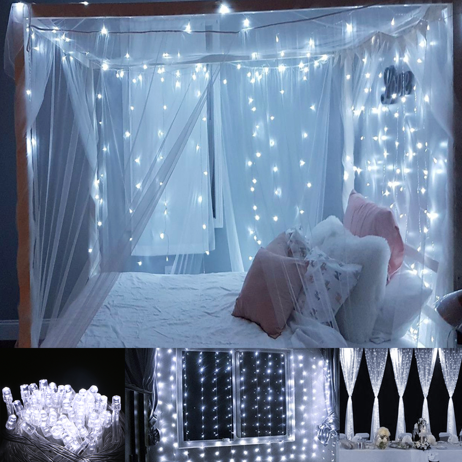 TSV 10M 100 LED Twinkle Fairy Party Light String 8 Modes + Tail Plug Holiday Décor