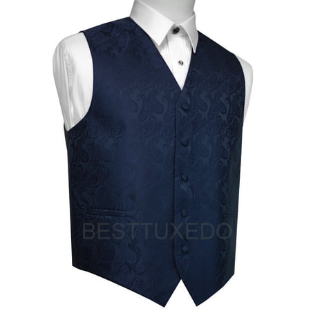 Italian Design, Men's Formal Tuxedo Vest for Prom, Wedding, Cruise , in Navy Paisley