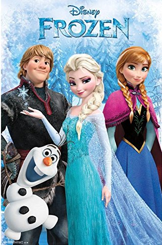Disney Frozen Group Movie 34x22.5 Art Print Poster Childrens Movie Cast Characters Elsa Anna Olaf Kristoff by Trends International