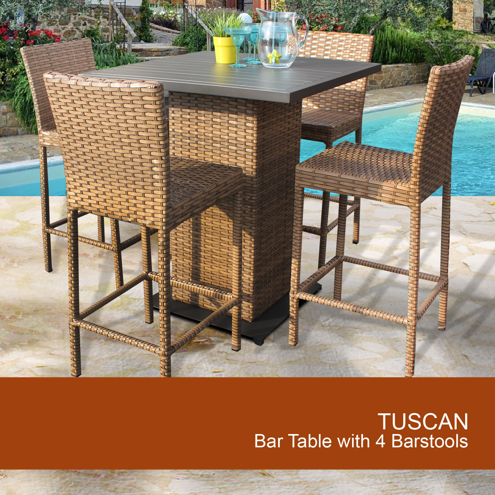 Exceptionnel Tuscan Pub Table Set With Barstools 5 Piece Outdoor Wicker Patio Furniture    Walmart.com