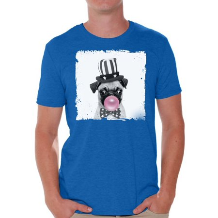 Awkward Styles Little Pug Clothes Animal T-Shirt for Men Funny Animal Gifts Pug T Shirt Cute Animal T Shirt Pug Shirt Gifts for Him Funny Men T Shirt Puppy Pug Tshirt Pug with Pink Gum T Shirt - Cute Little Clothes Coupon