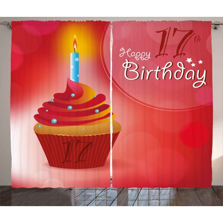 Cupcake Party Theme (17th Birthday Curtains 2 Panels Set, Sweet Seventeen Party Theme with Cupcake Dessert and Candle Image, Window Drapes for Living Room Bedroom, 108W X 63L Inches, Red and Vermilion, by)