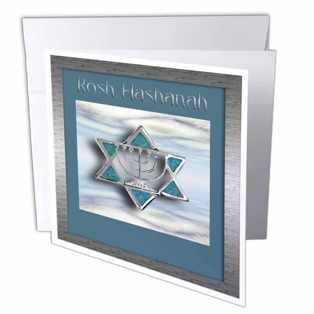 3dRose Rosh Hashanah Star of David, Greeting Cards, 6 x 6 inches, set of 12 ()