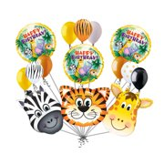 15 Jungle Fever Balloon Bouquet Happy Birthday Safari Animal Giraffe Zebra Tiger
