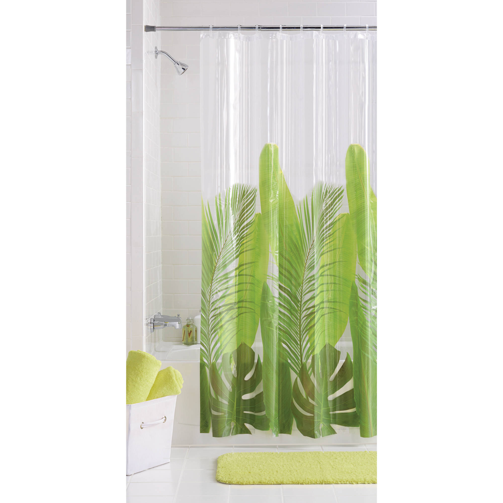 mainstays tropical leaf vinyl shower curtain