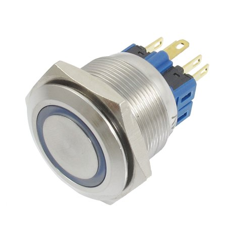 25mm Thread LED Lamp Momentary Stainless Push Button Switch 6 Pins