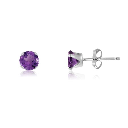 Round 2mm Sterling Silver Violet Purple CZ Stud Earrings, Free Gift Box included