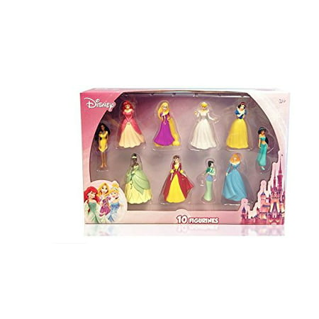 Disney Princess 10 pc Figure Collection Cinderella, Sleeping Beauty, Belle, Ariel, Pocahontas, Tian Multi-Colored (Ariel Collection)
