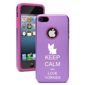 Apple iPhone 6 6s Shockproof AS Aluminum & Silicone Hard Soft Case Cover Keep Calm and Love Yorkies (Purple),Daylor