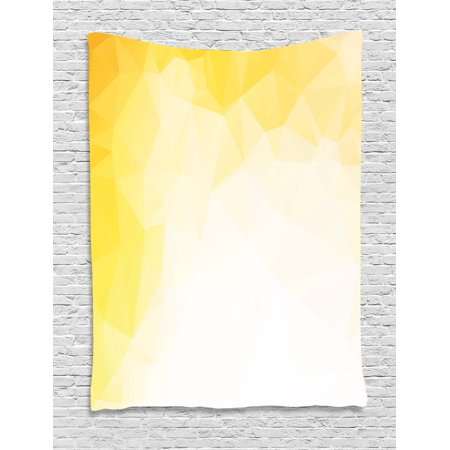 Yellow and White Tapestry, Fractal Mosaic Form with Simplistic Abstract Triangles with Ombre Effect, Wall Hanging for Bedroom Living Room Dorm Decor, Yellow White, by Ambesonne