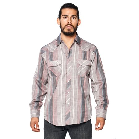 Western Rodeo (LW Men's Classic Checkered Striped Western Rodeo Pearl Snap Button Up Shirt (LW126 #11,)