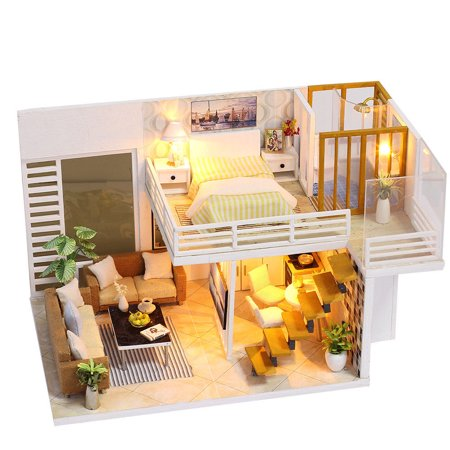 3d Cozy Diy Wooden Miniature Dollhouse Kits With Dust Cover Led Light Creative Handmade Home Furniture Handmade 2 Level