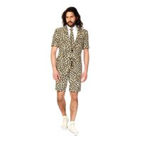 Beige and Black Animal Printed Men Adult Jag All Year Suit - 2XL