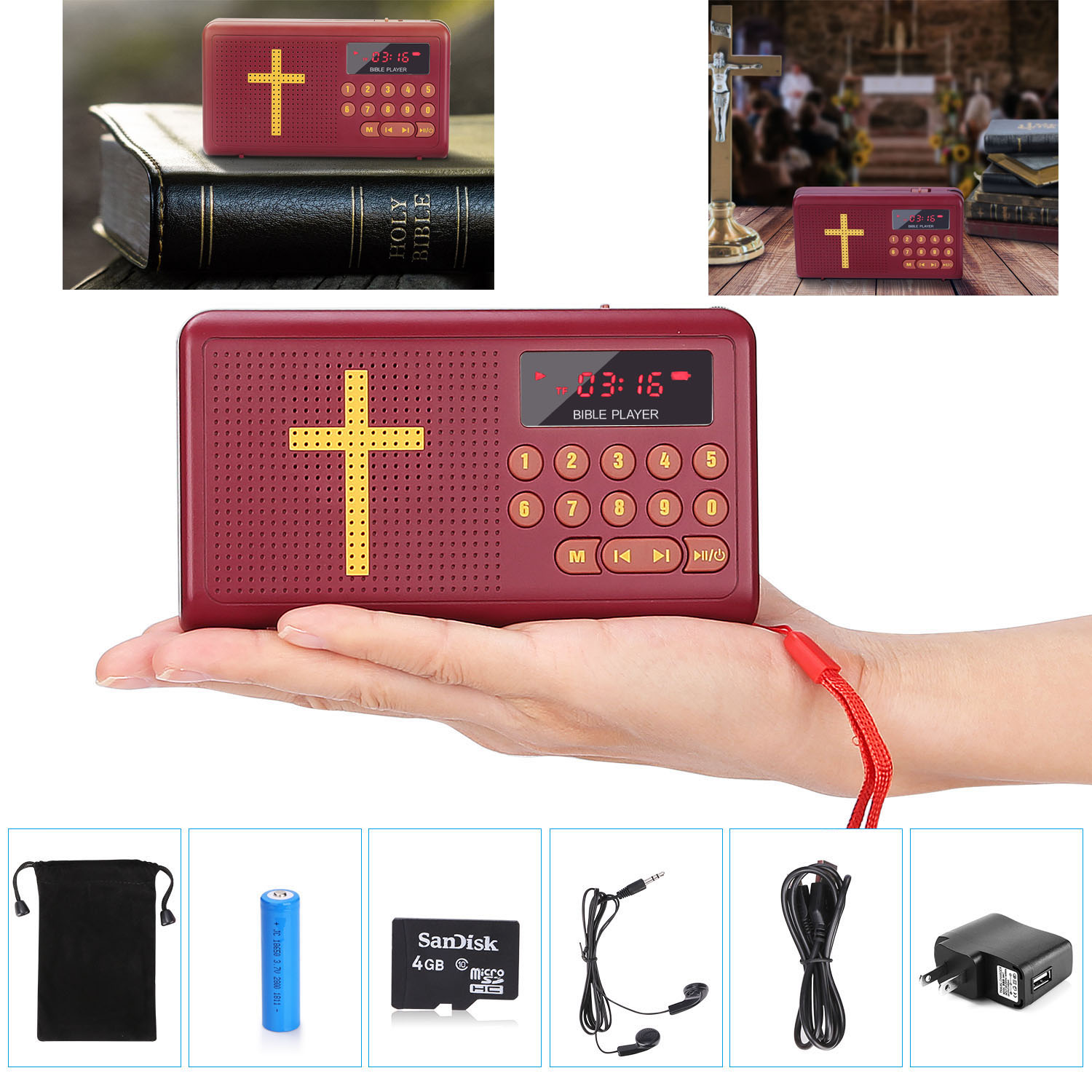 Portable Mini Bible Audio MP3 Player Speaker ,FM Radio Receiver with 4GB TF Card AUX LED Display Earphone Gift for Elders