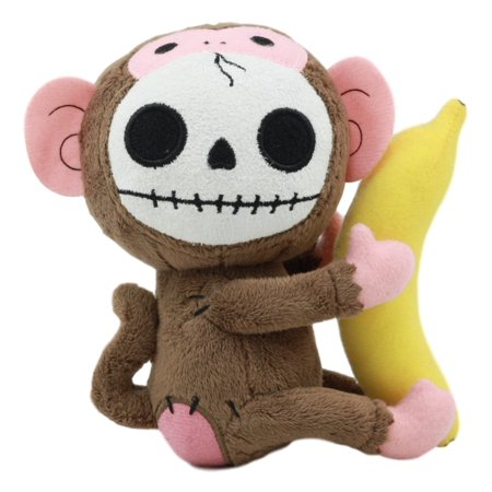 Ebros Small Furry Bones Skeleton Baby Monkey With Banana Plush Toy Doll 5.25