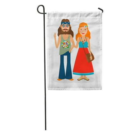 KDAGR Dude Hippie Sixties Girl and Man of Flower Power 1960S Garden Flag Decorative Flag House Banner 12x18 inch](Sixties Flower Power)
