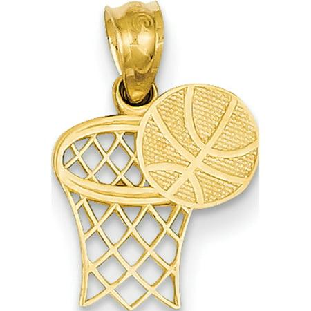 14k Yellow Gold Basketball & Hoop (11x18mm) Pendant / Charm