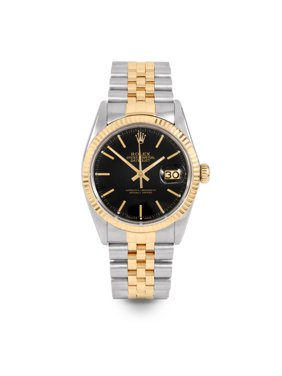 Pre Owned Rolex Datejust 16013 w/ Black Stick Dial 36mm Men's Watch (Certified Authentic & Warranty Included)