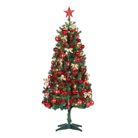Holiday Time Decorated Conical Christmas Tree 5 ft, Green ()