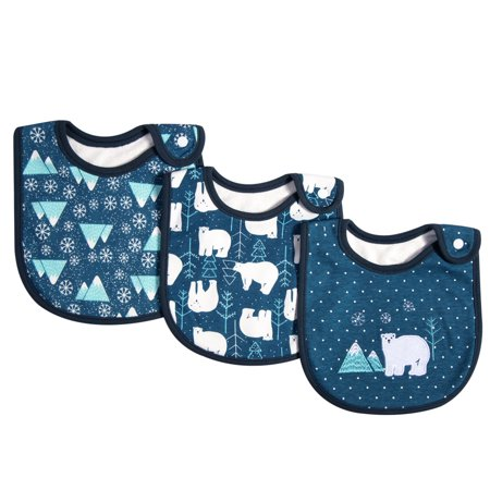 3 Pack Baby Bibs 100% Organic Cotton Drooling Teething Feeding Bib Soft Super Absorbent With Snap Button For 0-36 Months Girls Boy Newborns Infant Toddlers Polar Bear Infant Snap Terry Bibs