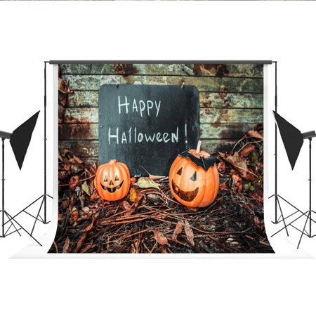 ABPHOTO Polyester Photography Background Happy Halloween Words Photo Booth Pumpkin Wooden Wall Backdrop Falls for Studio Photos 7 X 5 ft - Halloween Background For Word