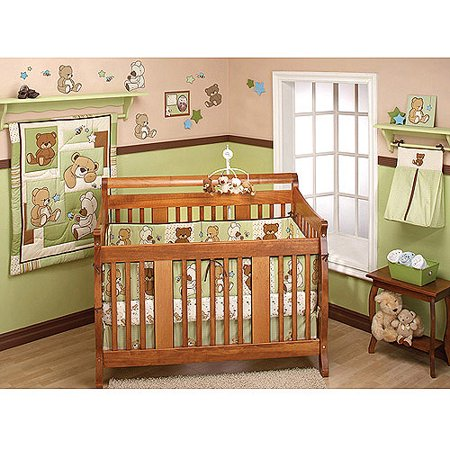 - Little Bedding by NoJo - Dreamland Teddy 10pc Nursery in a Bag Crib Bedding Collection, Neutral - Value Bundle