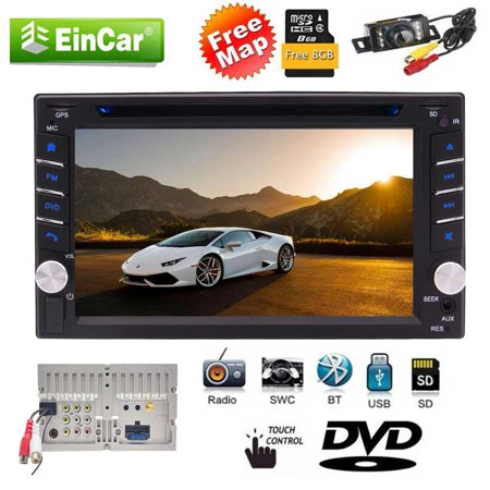 Upgrade Version With Rear Camera! Double Din Car DVD CD Video Player 6 2  Inch Digital Capacitive Touchscreen Bluetooth Car Stereo Support GPS