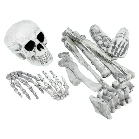 Halloween Haunters 12pc Bag of Plastic Skeleton Skull Bones Set Prop Decoration - Halloween Decorations Made Paper