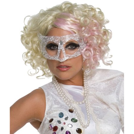 Lady Gaga Curly Blonde with Pink Wig - Blonde Curly Wig