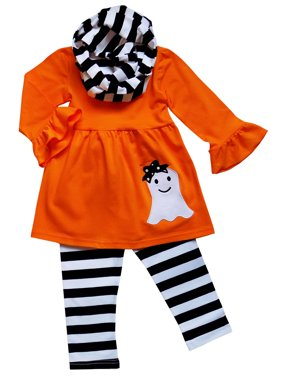bfefc130102911 Product Image So Sydney Toddler Girls 3 Pc Halloween Fall Tunic Top Leggings  Outfit, Infinity Scarf