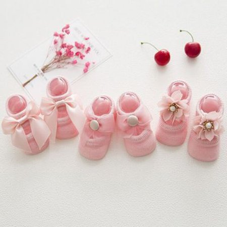 Baby-Girls Bow Tie Lace Socks Newborn/Infant/Toddler/Little Girls Socks - image 2 de 8