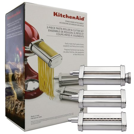KitchenAid 3 Piece Pasta Roller & Cutter Attachment Set Silver - KSMPRA