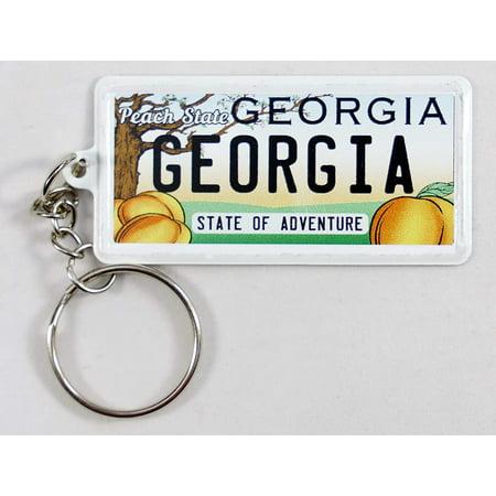 Georgia License Plate Aluminum Ultra-Slim Rectangular Souvenir Keychain