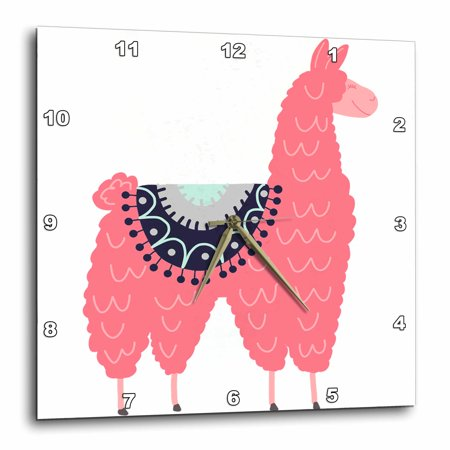 - 3dRose Fun creative fluffy pink llama wearing a saddle blanket - Wall Clock, 13 by 13-inch