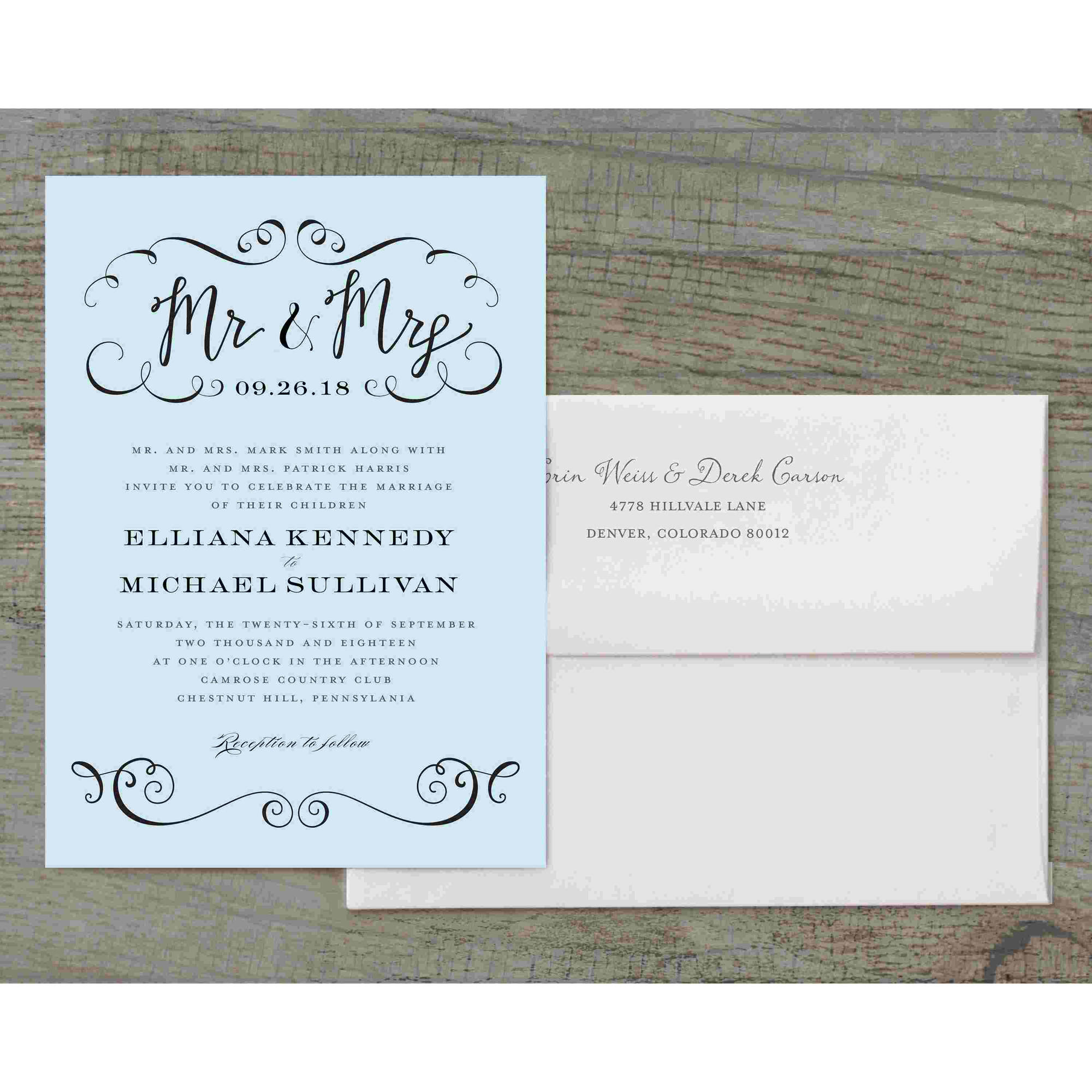 Calligraphy Mr and Mrs Deluxe Wedding Invitation