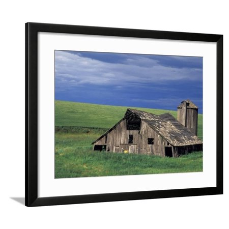Wooden barn and silo, Lewiston, Idaho Framed Print Wall Art By Darrell Gulin ()