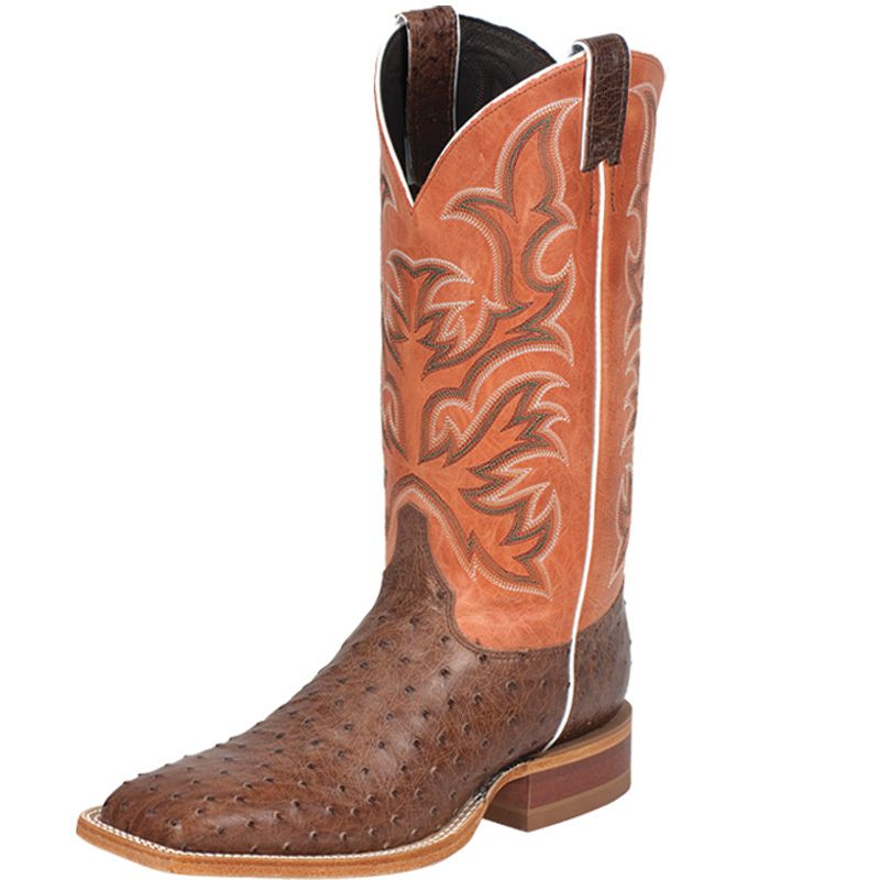 Justin Boots Antique Brown Vintage Full-Quill Ostrich Exotic Western Boots (10.5)