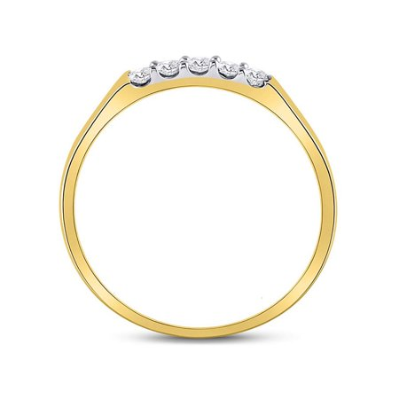10kt Yellow Gold Womens Round Diamond Single Row 5-stone Band Ring 1/6 Cttw - image 1 of 4