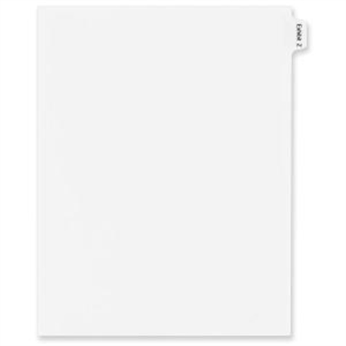 "Avery Legal Exhibit Index Divider - 1 - Tab(s)Printed Z - 8.50"" Divider Width x 11"" Divider Length - Letter - White Pape"