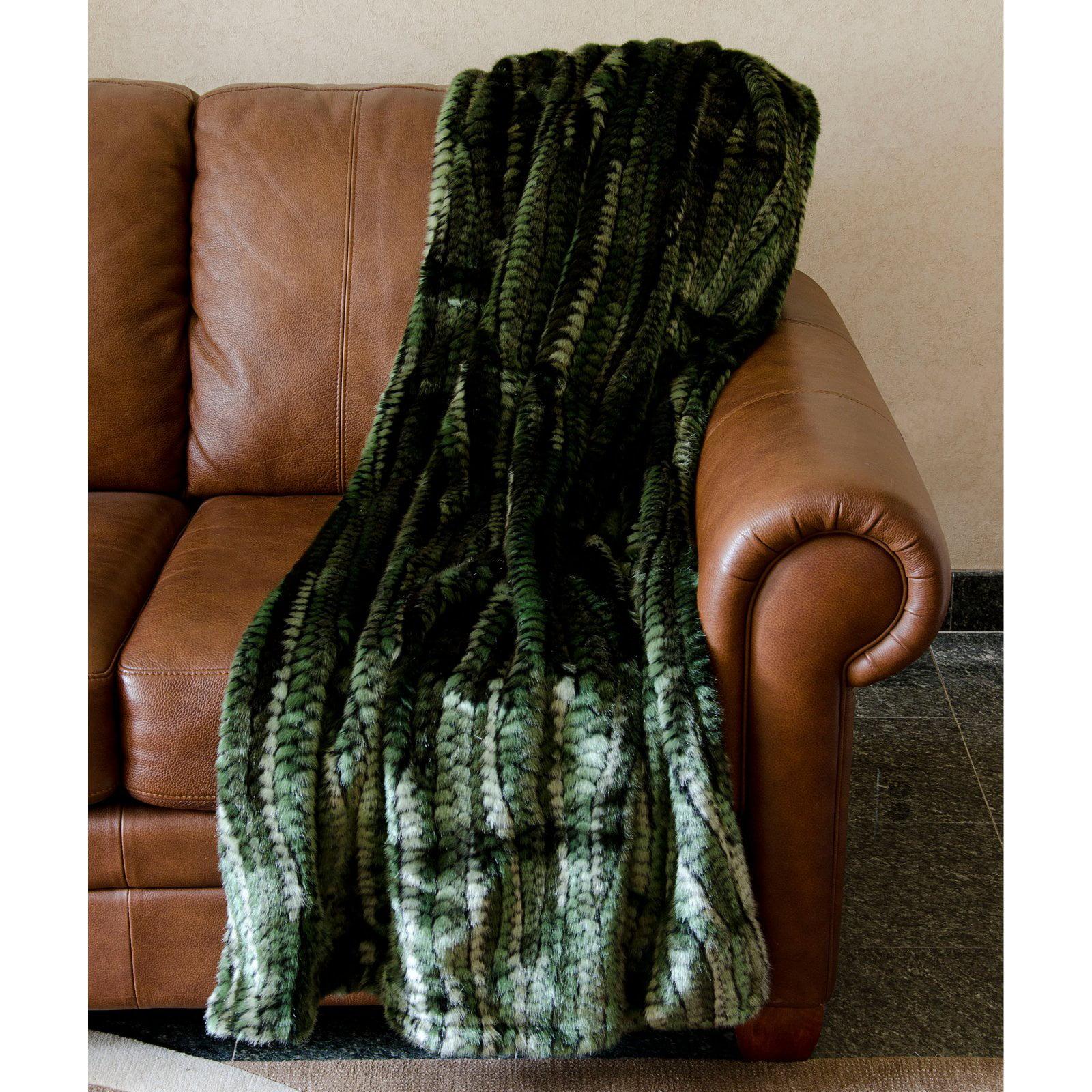 Nourison Fur Green Stripe Green Throw Blanket