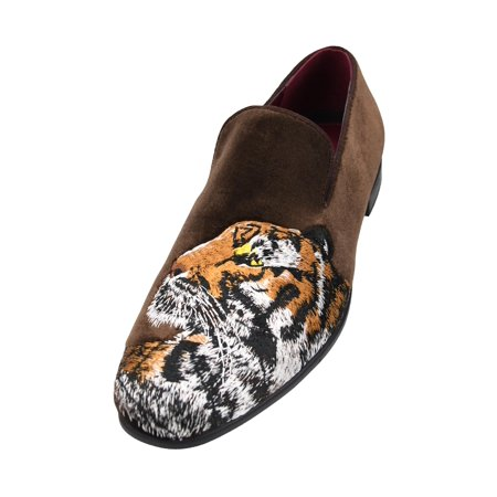 Amali Men's Velvet Smoking Slipper with Lavish Embroidery Loafer Dress Shoe, Style Tiger Available in Black and Brown ()