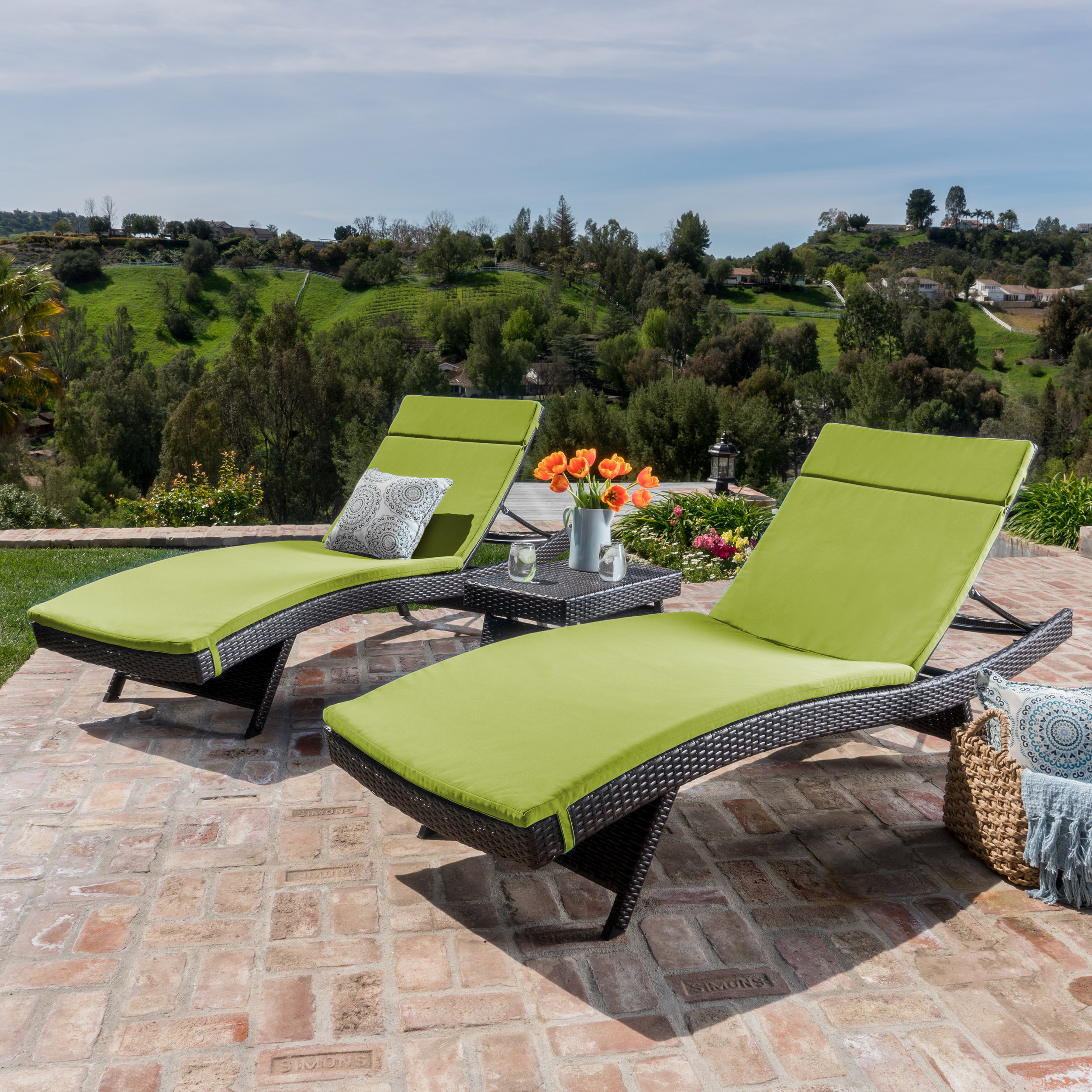 Anthony Outdoor Wicker 3-piece Adjustable Chaise Lounge Set with Cushions, Multibrown and Bright Green