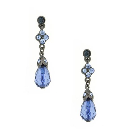 Blue Bayou Floral Crystal Drop Earrings