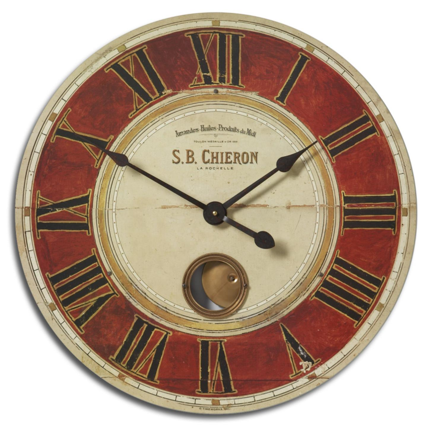 "23"" Weathered Red and Cream Cast Brass French Theme Internal Pendulum Wall Clock"