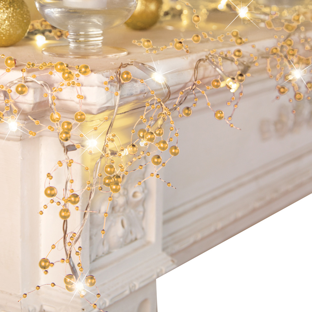 Indoor Christmas Decorations, Festive Lighted Berry Beaded Garland, Gold