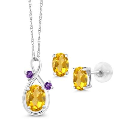1.73 Ct Oval Yellow Citrine 14K White Gold Pendant Earrings Set
