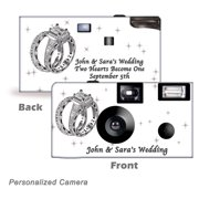 10Pack-Personalized Shimmering Engagement on White. Disposable Cameras. Free shipping.  Wedding Cameras, Event Cameras, from CustomCameraCollection WM-53690-P