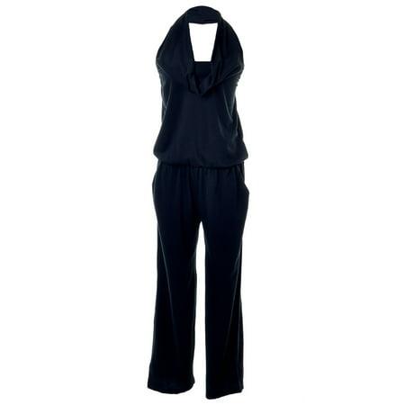 S/M Fit Black Solid Sexy Secretary Cowlneck Halter Long Pants Jumpsuit